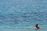 Mom swimming in Mediterranean